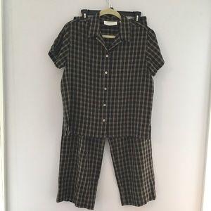 Plaid shirt and pants set